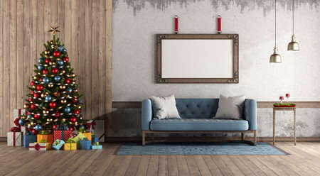 Retro style living room with Christmas tree against wooden panel and blue classic sofa - 3d rendering 免版税图像