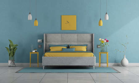 Modern pastel colors bedroom with double bed and night stand - 3d rendering