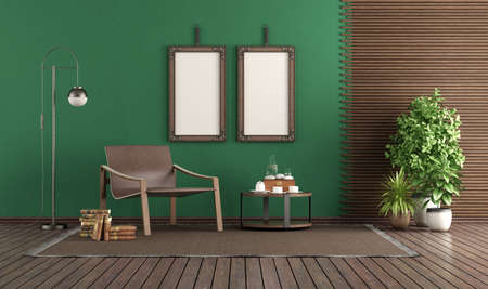 Fashionable leather armchair in a green living room, with blank picture frame and wooden panel - 3d rendering
