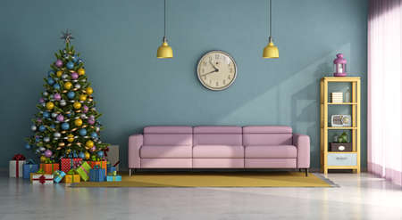 Vintage style living room with colorful Christma tree, gift and pink sofa - 3d rendering 免版税图像