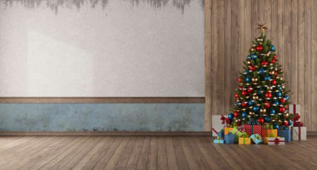 Christmas tree and gift against wooden panel in old empty room - 3d rendering