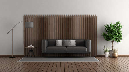 Modern living room with black leather sofa in front of a wooden panel - 3d rendering 免版税图像