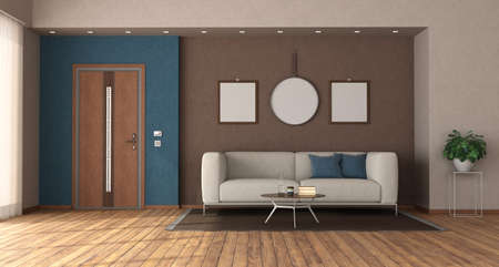 Modern home entrance with closed front door, sofa and blanck picture frame - 3d rendering