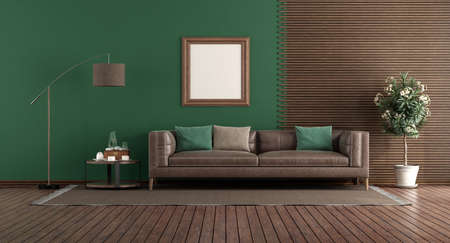 Green living room with leather sofa in front of a wooden panel - 3d rendering 免版税图像