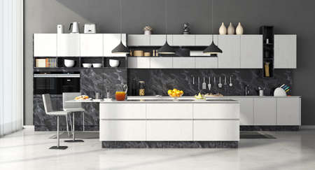 Modern kitchen in black and white marble with island and stools - 3d rendering