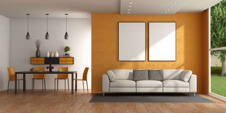 Modern living room with sofa against orange wall and dining table with chairs - 3d rendering