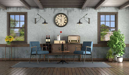 Retro style living room with armchairs, sideboard and wooden windows - 3d rendering 免版税图像