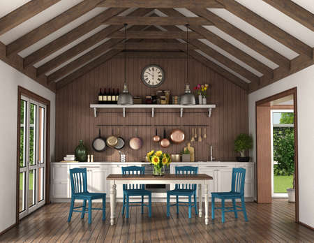 Retro style kitchen with dining table and chairs in a room with wooden roof trusses