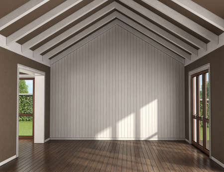 Empty living room with wooden wall on background, large windows and roof beams - 3d rendering