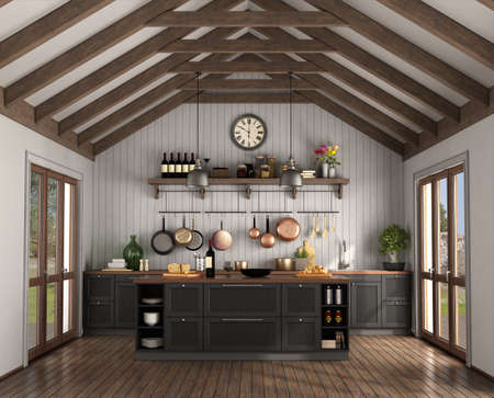 Retro style kitchen with island in a room with wooden roof trusses