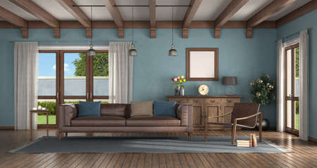 Classic style living room with modern armchair, leather sofa and old sideboard on background - 3d rendering