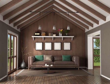 Living room with wooden wall behind a leather sofa and ceiling with roof beams- 3d rendering