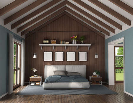 Elegant bedroom with wooden wall behind a modern double bed and nightstand - 3d rendering 免版税图像