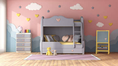Pastel color children room with bunk bed, decor objects on blue wall, chest of drawer and blackboard - 3d rendering