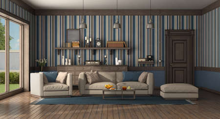 Classic style living room with modern sofa and armchair. old door and chest of drawer on background - 3d rendering