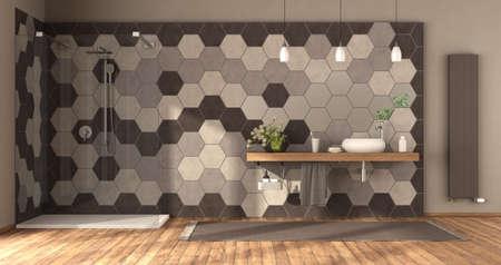 Modern Bathroom with shower, washbasin on wooden shelf and hexagonal tiles wall -3d rendering