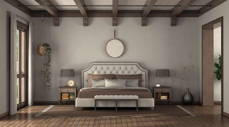 Classic style bedroom with elegant double bed, nightstands and wooden roof beams - 3d rendering