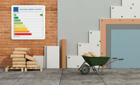 Polystyrene insulation panels on brick wall to improve the thermal performance of an old house - 3d rendering Stockfoto