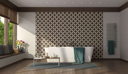 Modern bathroom with minimalist bathtub and tiles wall - 3d rendering 免版税图像