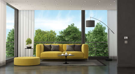 Yellow sofa in front of a large window in a minimalist living room - 3d rendering 免版税图像