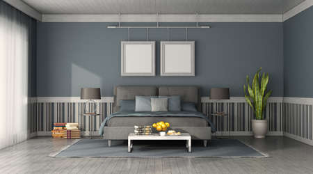 Front view of a modern bedroom with blue and gray double bed - 3d rendering 免版税图像