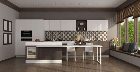 Modern white kitchen with island, dining table and large windows - 3d rendering
