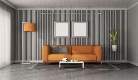 Modern orange sofa in front of a wall with wallpaper - 3d rendering