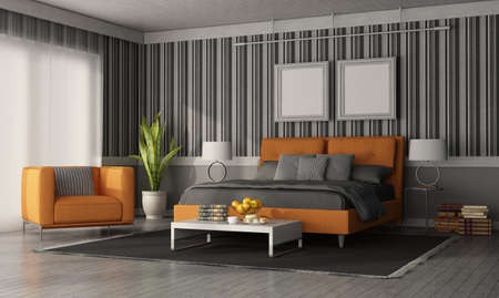 Gray and orange modern bedroom with double bed, armchair and wall with wallpaper - 3d rendering 免版税图像