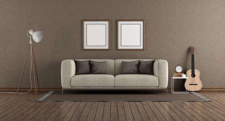 Minimalist living room with brown wall, modern sofa floor lamp and guitar on hardwood floor - 3d rendering