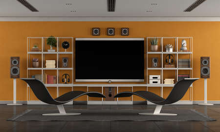 Modern living room with home cinema system with large flat screen, bookcase and two chaise lounges - 3d rendering