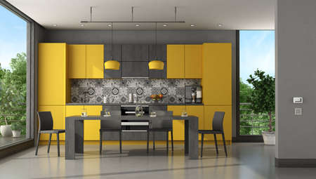 Black and yellow modern kitchen with dining table and chair - 3d rendering 免版税图像