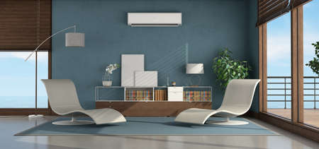 Living room of a seaside house with two chaise lounge, sideboard and air conditioner on the blue wall - 3d rendering