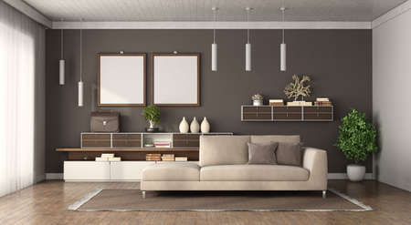Modern living room with brown wall, sofa and sideboard on background - 3d rendering 免版税图像