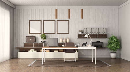 Modern office interior with desk, sideboard and wooden wall on background - 3d rendering