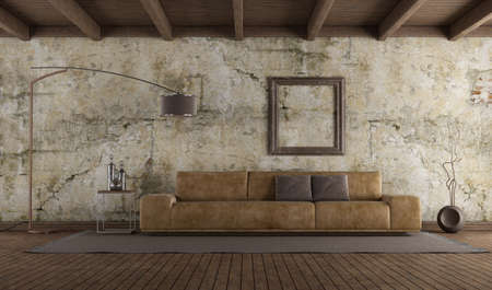 Modern leather sofa in room with old wall, hardwood floor and wooden ceiling - 3d rendering