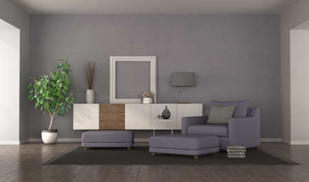 Modern purple living room with armchair, footstools and sideboard on background - 3d rendering
