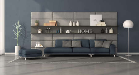 Modern living room with dark blue sofa in front of a leather panel with shelves - 3d rendering