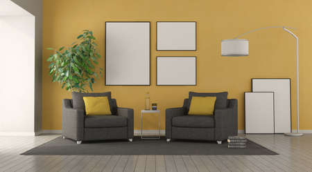 Black armchair in a modern living room with yellow wall on background - 3d rendering