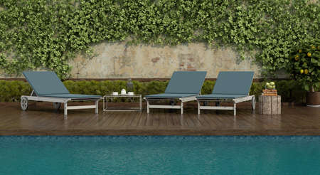 deck chairs by the pool on a wooden floor and an old wall with climbing plants - 3d rendering