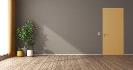 Empty room with yellow flush wall door and houseplants - 3d rendering