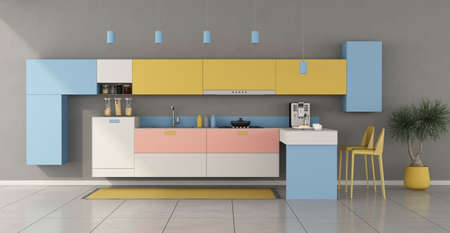 Colorful minimalist kitchen with peninsula and stools - 3d rendering