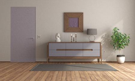 Minimalist room with purple sideboard and flush wall door - 3d rendering Stockfoto