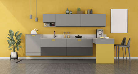 Yellow and gray minimalist kitchen with peninsula and stools - 3d rendering