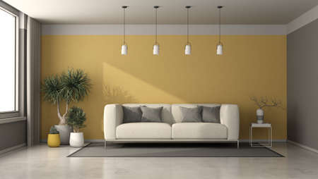 Gray and yellow living room with modern sofa, coffee table and houseplants - 3d rendering