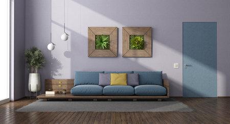 Living room with wooden sofa, flush wall door and houseplants - 3d rendering Stockfoto