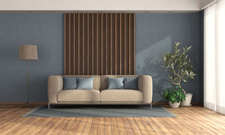Minimalist living room with sofa against wooden panel and blue wall - 3d rendering