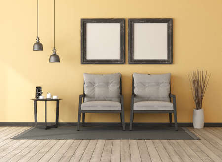 Retro yellow living room with two wooden armchairs.coffee table and blank picture frame - 3d rendering Stockfoto