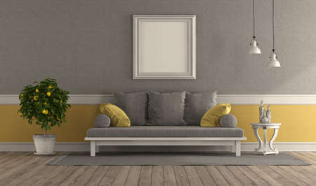 Gray and yellow retro living room with sofa and blank picture frame - 3d rendering