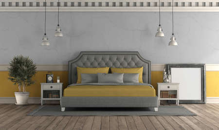 Retro style master bedroom with old wall and classic double bed - 3d rendering