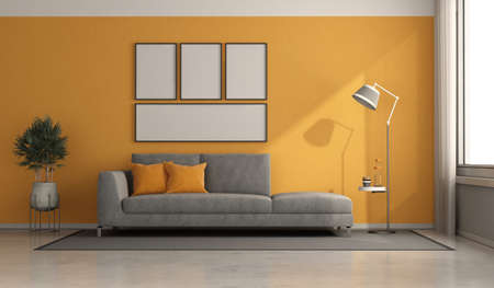 Gray modern sofa in a minimalist room with oranges walls - 3d renderimg